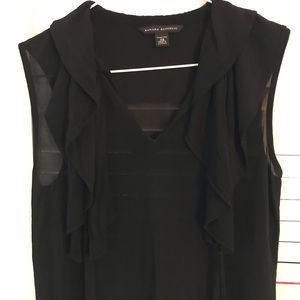 Banana Republic Ruffle Black sleeveless Blouse